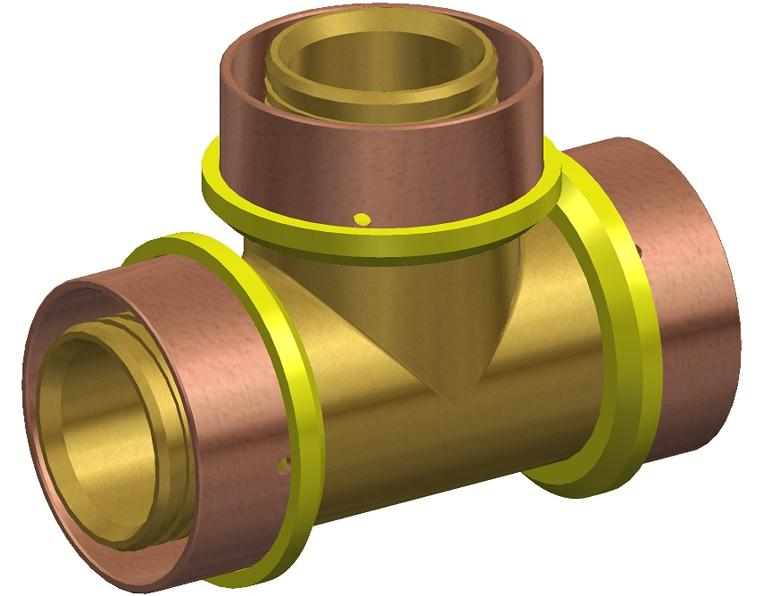 32 FK1 GAS TEE EQUAL BRASS